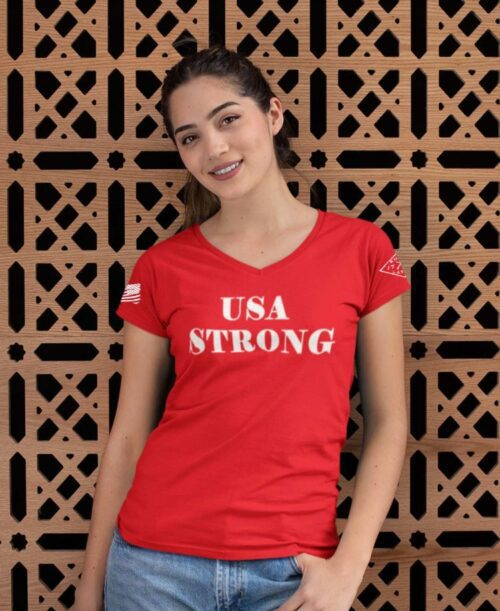 USA Strong on women's red t-shirt