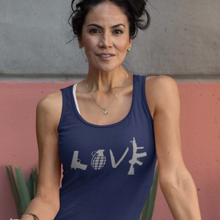 Love Guns on women's navy tank