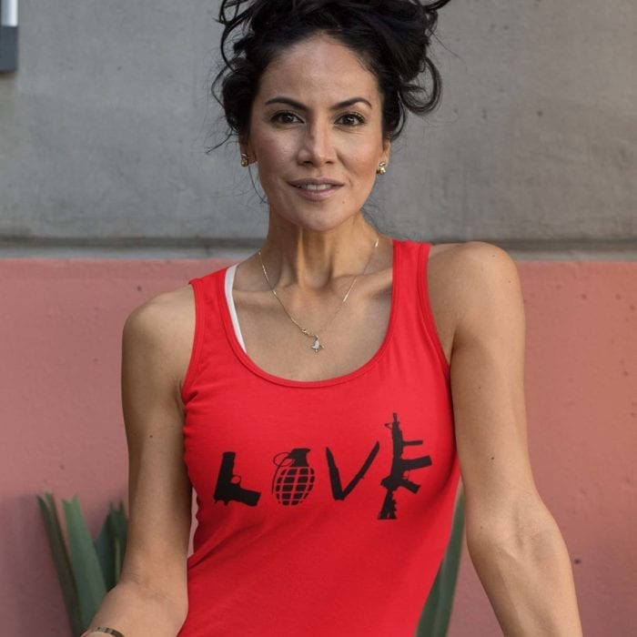 Love Guns on womens red tank top