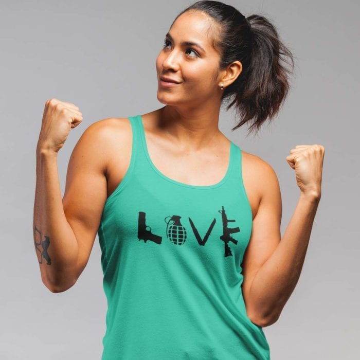 Love Guns on womens teal tank