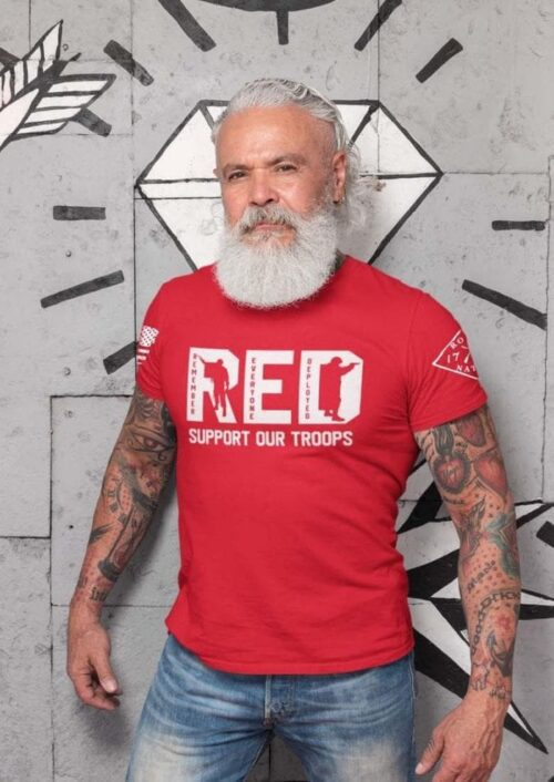 RED Support our Troops T-shirt on Mens Red