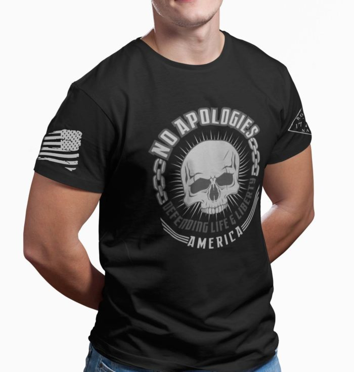 No Apologies on Mens Black t-shirt