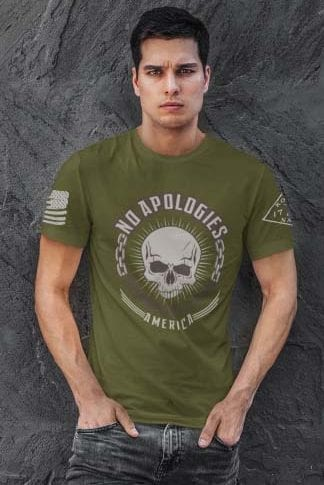 No Apologies on Mens Army T-Shirt