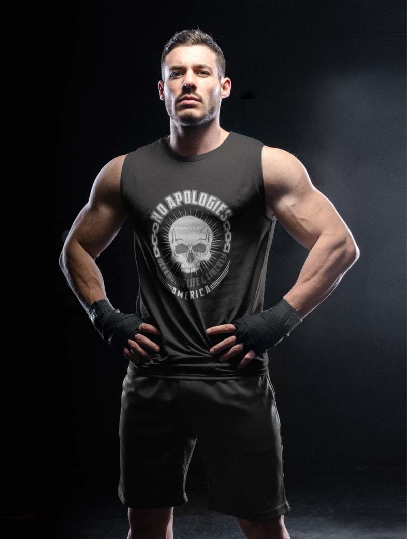 No apologies on mens black tank