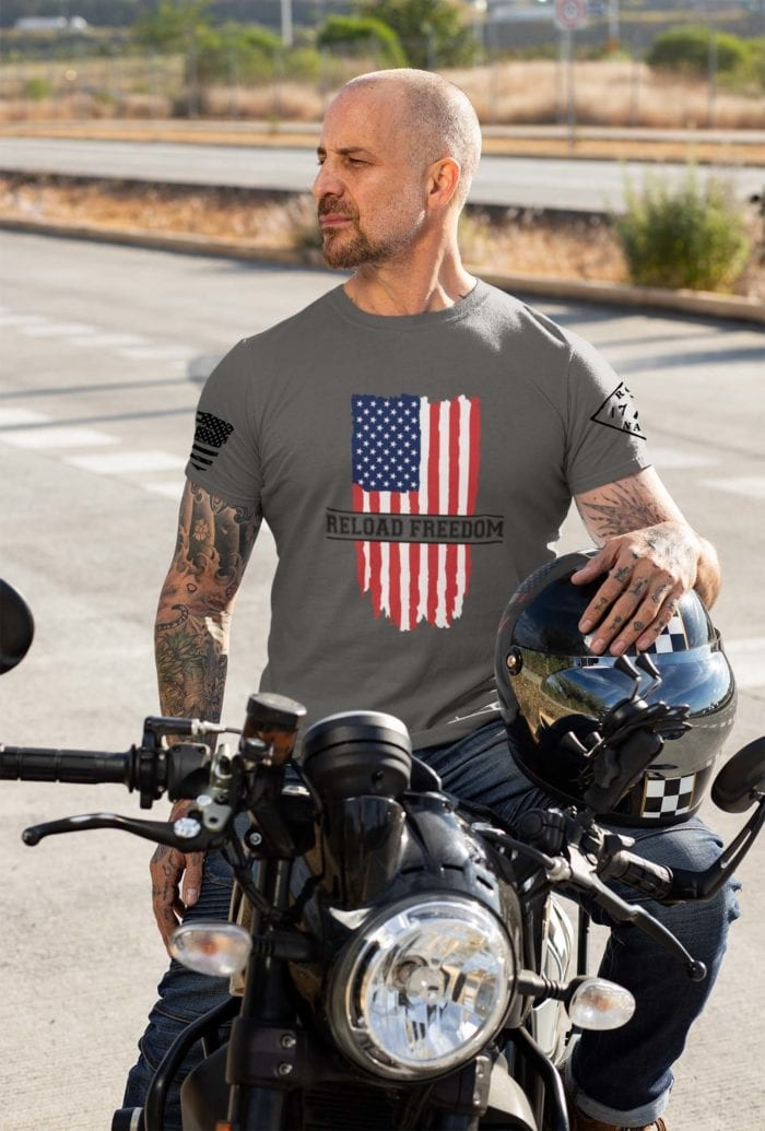 Reload freedom on mens charcoal tshirt