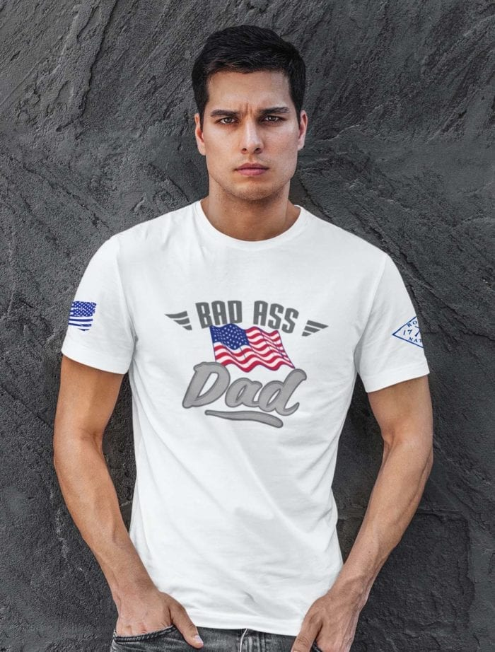 Bad Ass Dad on Mens White T-shirt