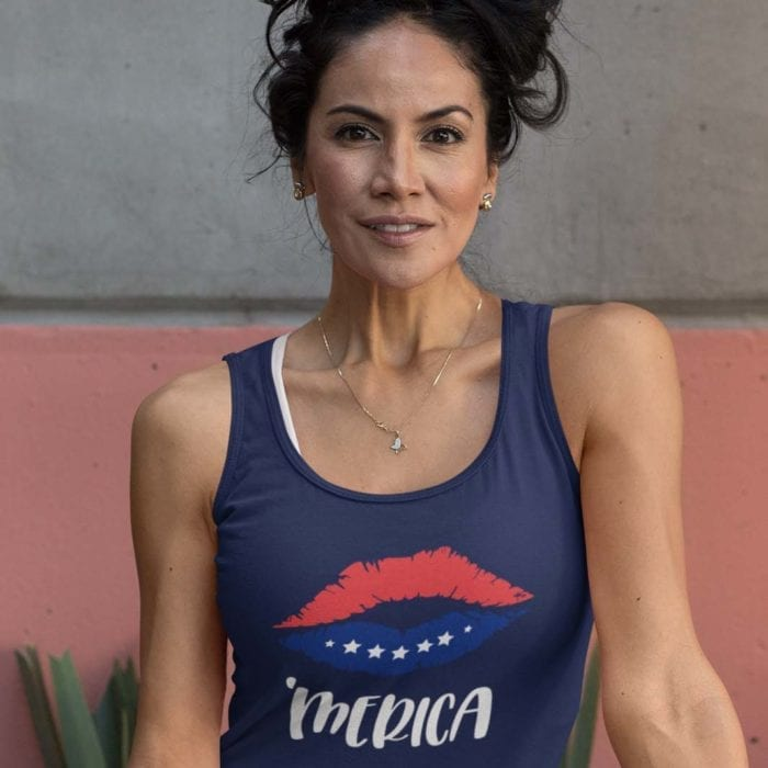 'Merica on Womens navy blue Core tank
