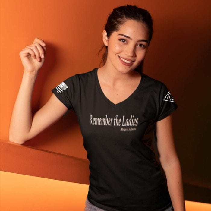 Rememeber the ladies iin womens black v-neck