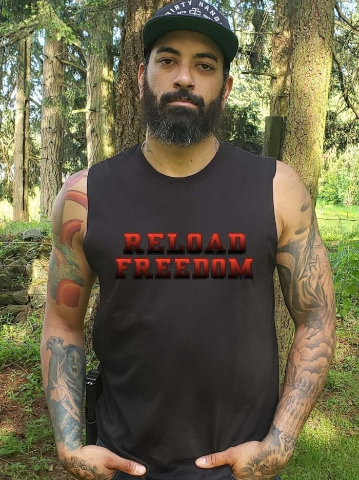 Reload in red on mens black muscle tank