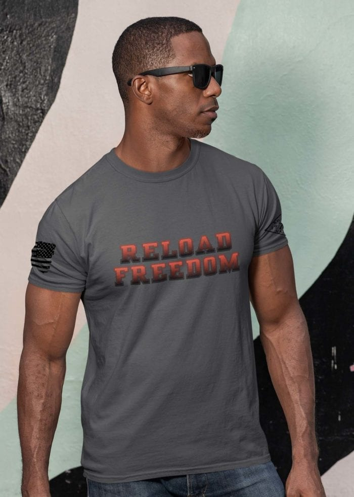 Reload in red on men's charcoal tshirt
