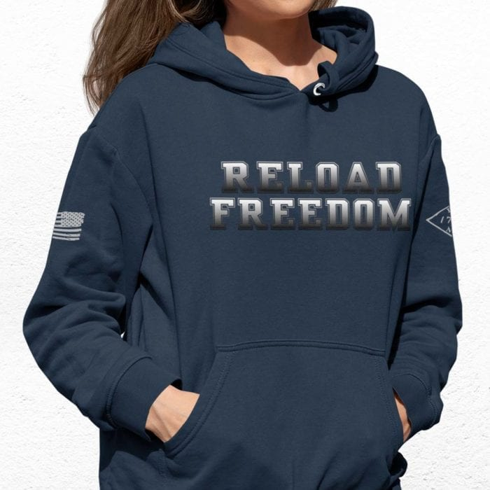 Reload on slate blue hoodie