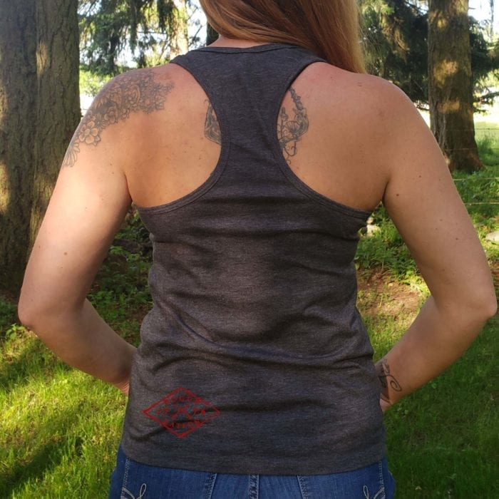 Back of dark heather gray racerback tank