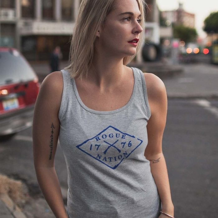 Rogue nation Logo on Light heather gray tank