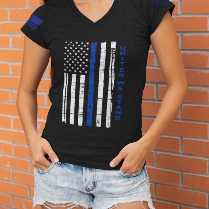 United We Stand Police on women's Heather Black