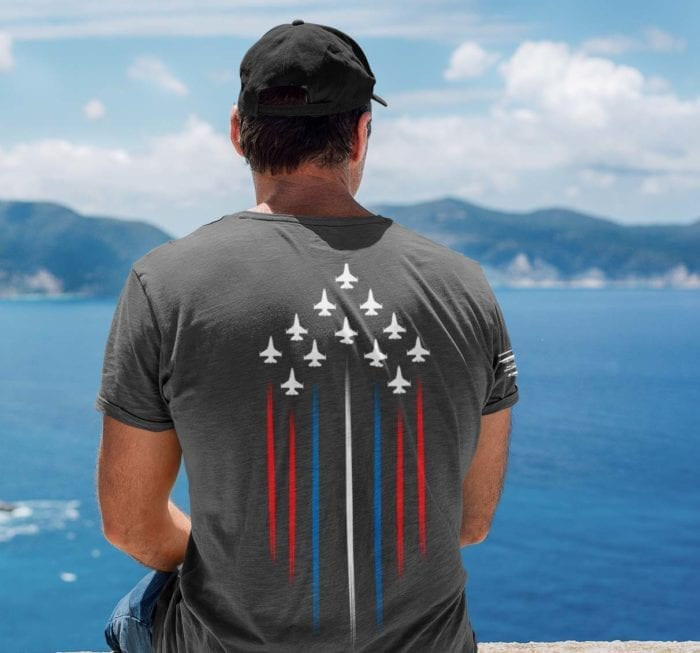 Freedom Jets with red white and blue on Mens charcoal t-shirt