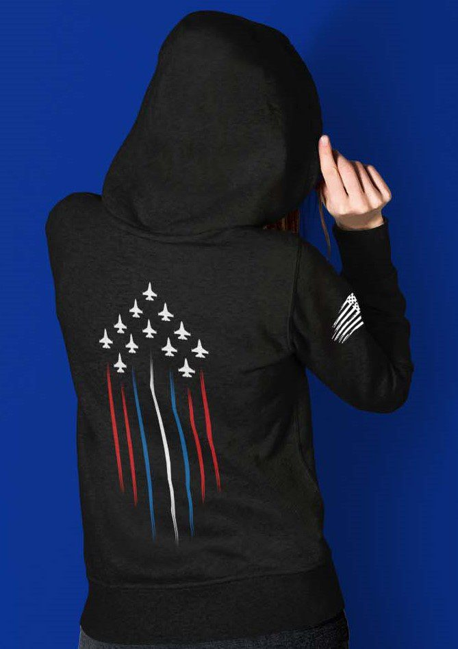 Military Jets with red white and blue on black hoode