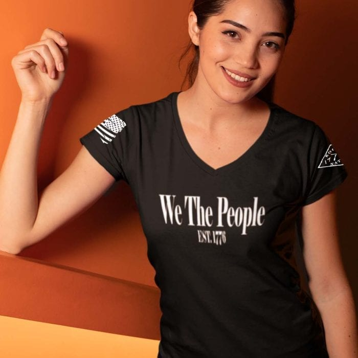 W.T.P 1776 on women's Black V-Neck