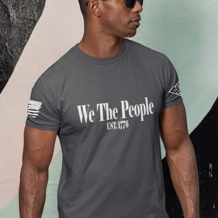 W.T.P 1776 on mens charcoal t-shirt