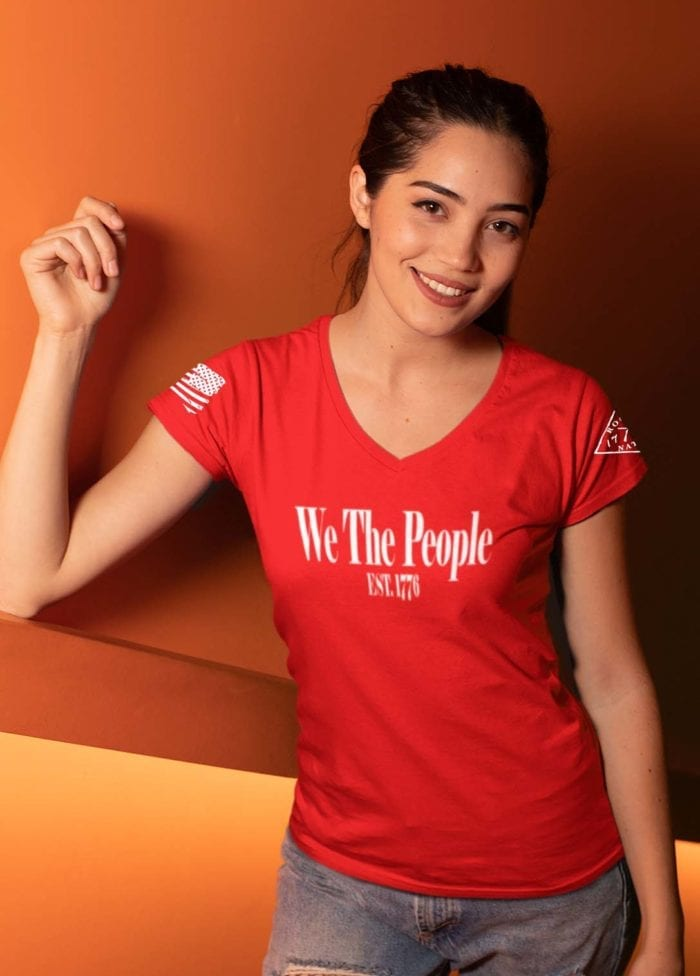 W.T.P 1776 on Womens Red V-Neck