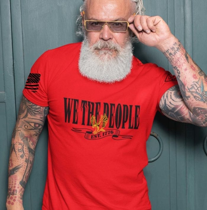 W.T.P. Gold on Men's Red T-shirt