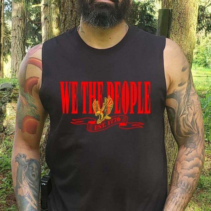 W.T.P Gold Eagle on Men's Black Muscle Tank