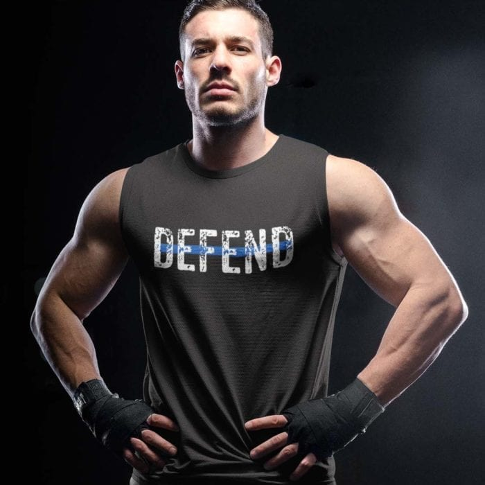 Defend Blue on Men's Black Tank Top