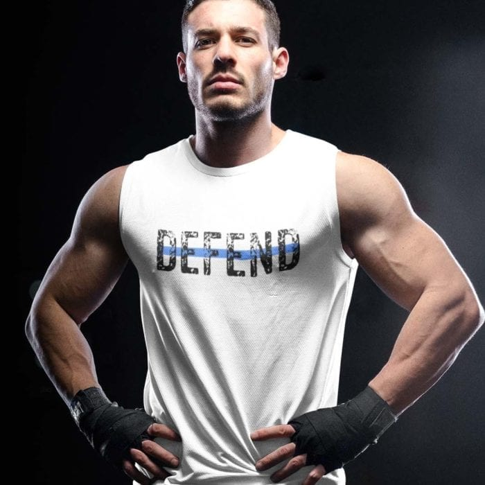 Defend Blue on Men's White Muscle Tank
