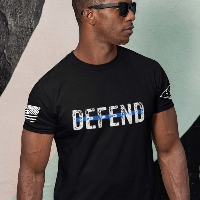 Defend Blue on Men's Black T-Shirt