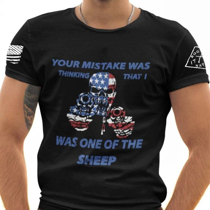 Not Your Sheep on Men's Black T-Shirt