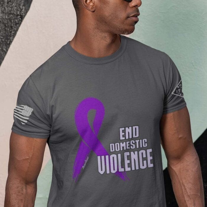 Domestic Violence T-Shirt on Men's Charcoal