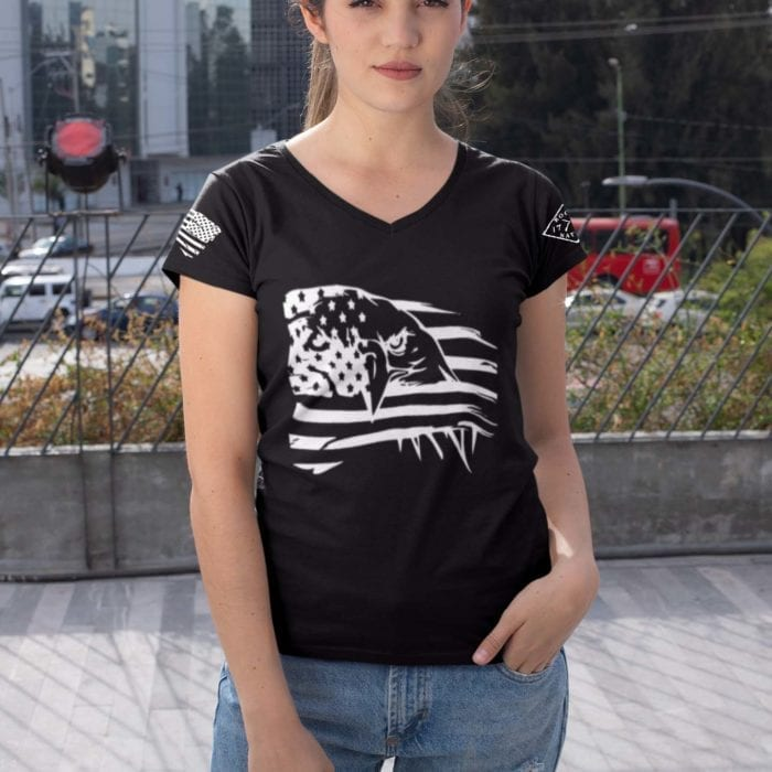 Eagle Pride on Womens' Black V-Neck