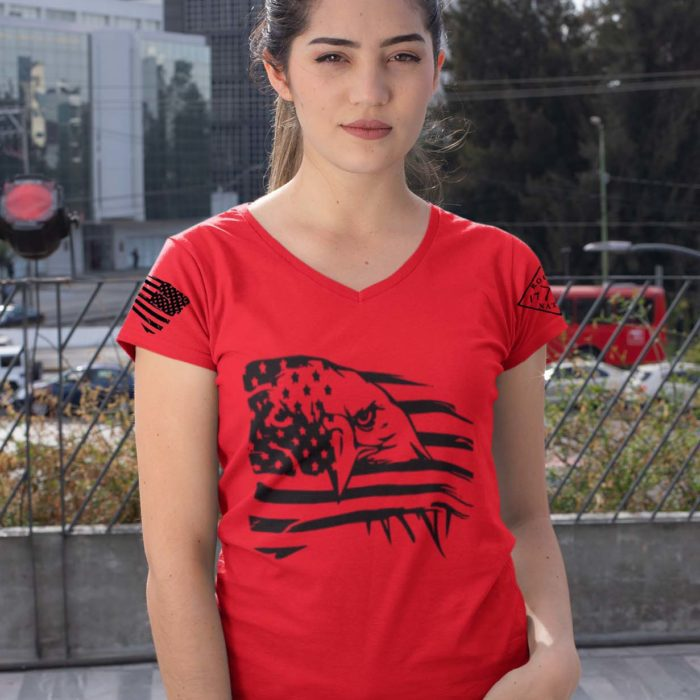 Eagle Pride on Womens Red V-Neck