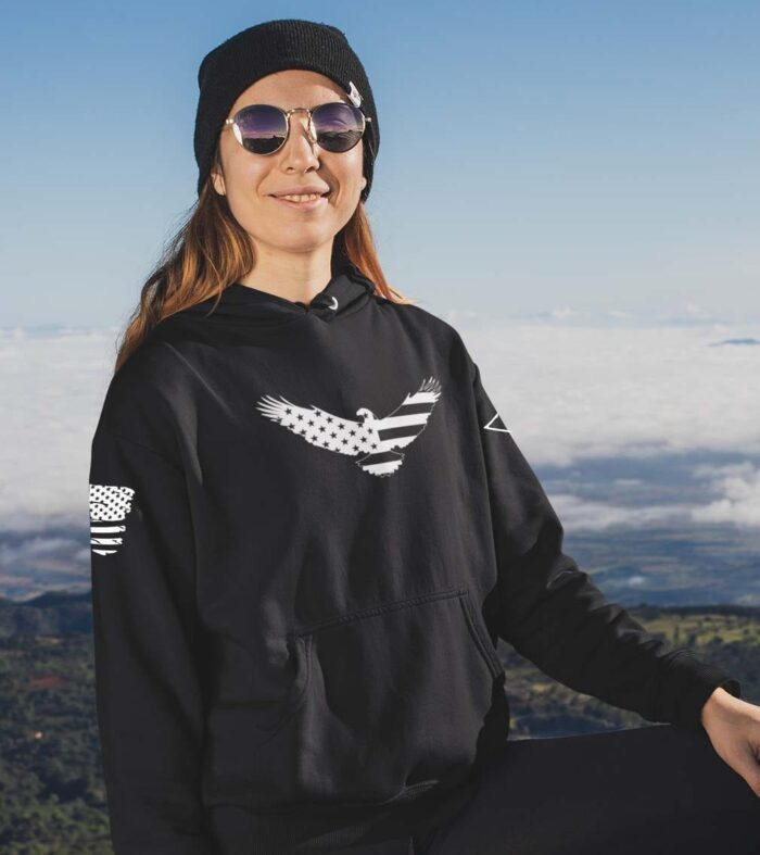 American Eagle on a Black Hoodie
