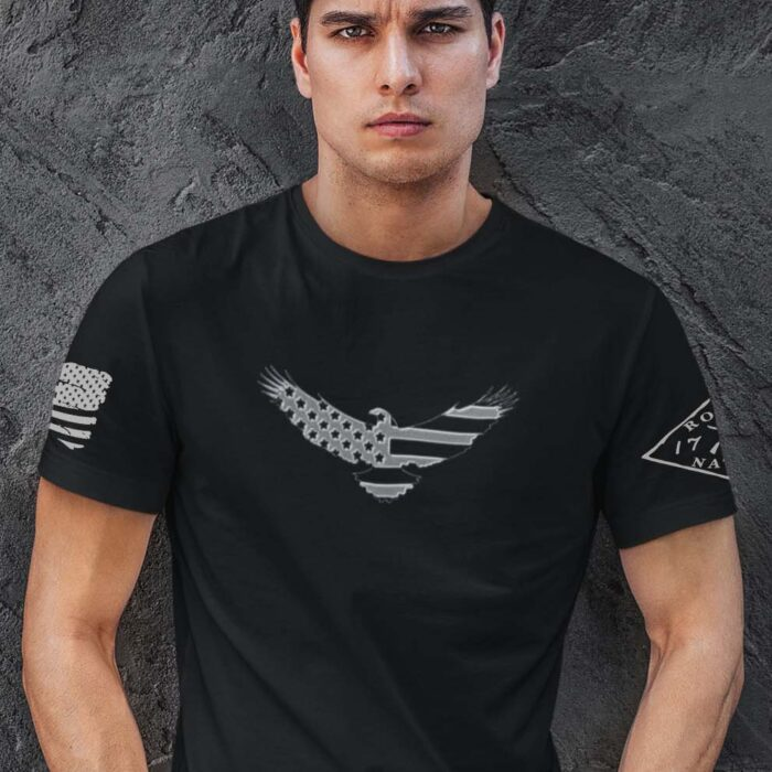 American Eagle on a Mens BlackT-Shirt