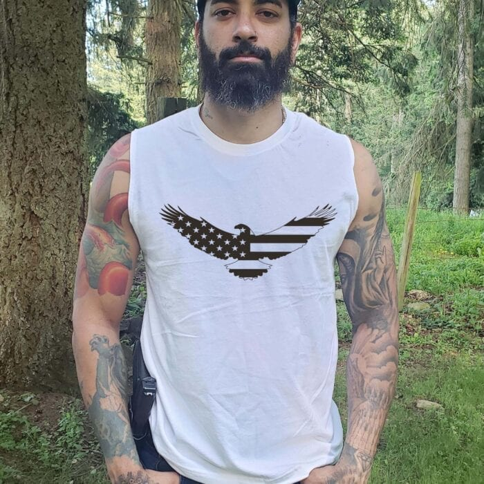 American Eage on Men's White Tank