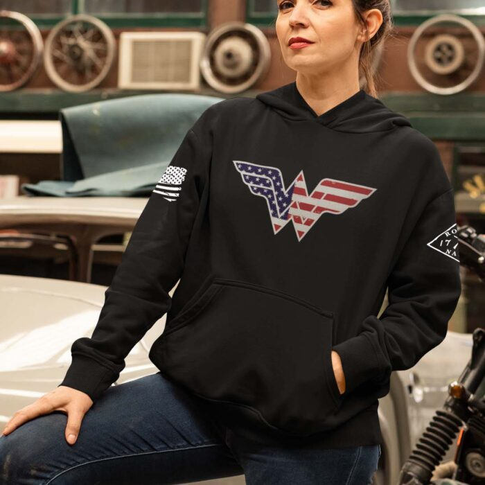 Wonder Woman on black women's hoodie