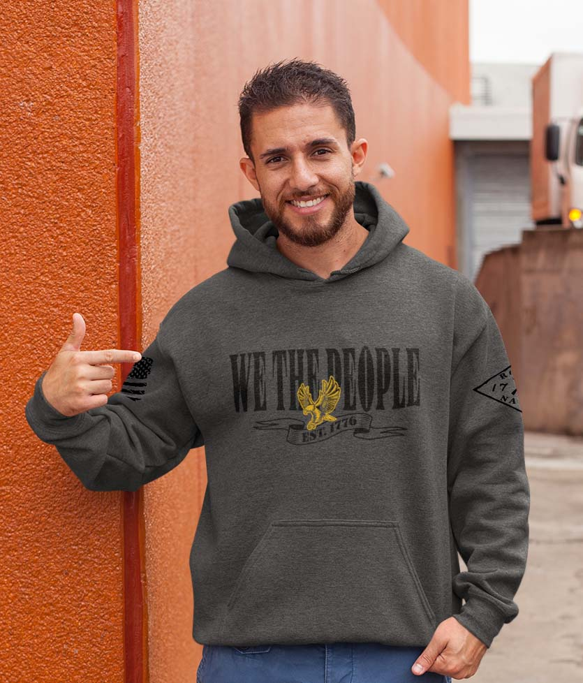 W.T.P Gold Eagle on a Heathered Charcoal Hoodie