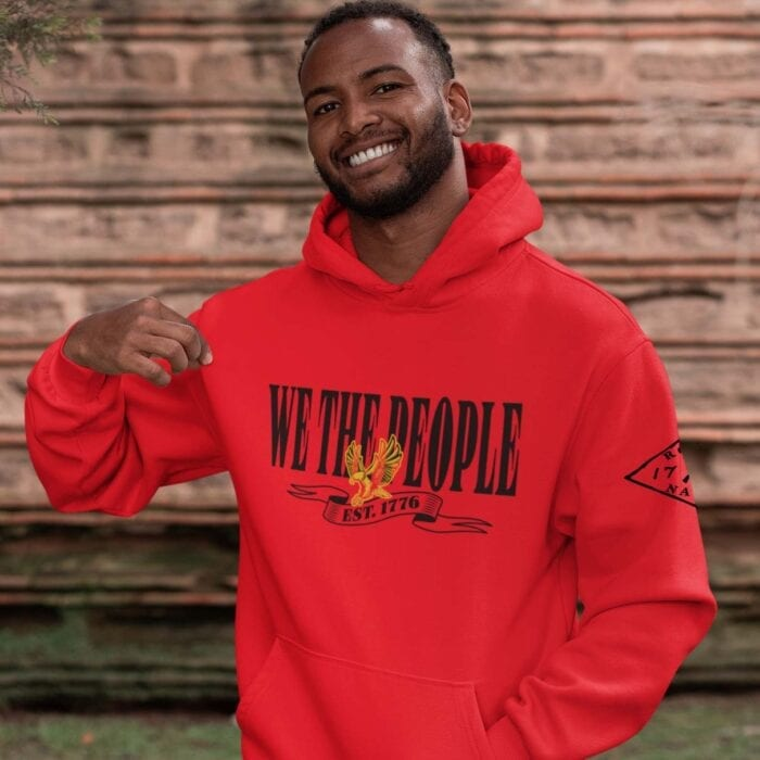 W.T.P Gold Eagle on a Red Hoodie