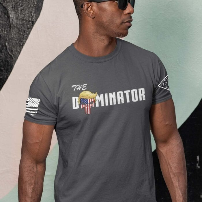 The Dominator on men's Charcoal T-Shirt