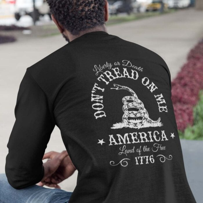 Don't Tread on Me on Men's Black Long Sleeve