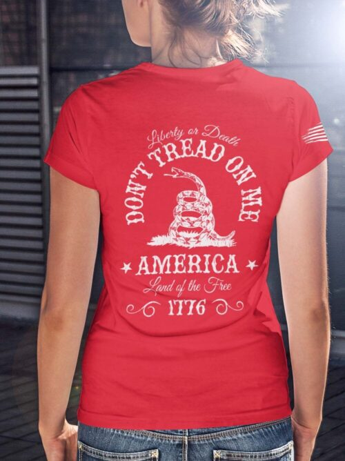 Don't Tread On me on a Women's Red Shirt