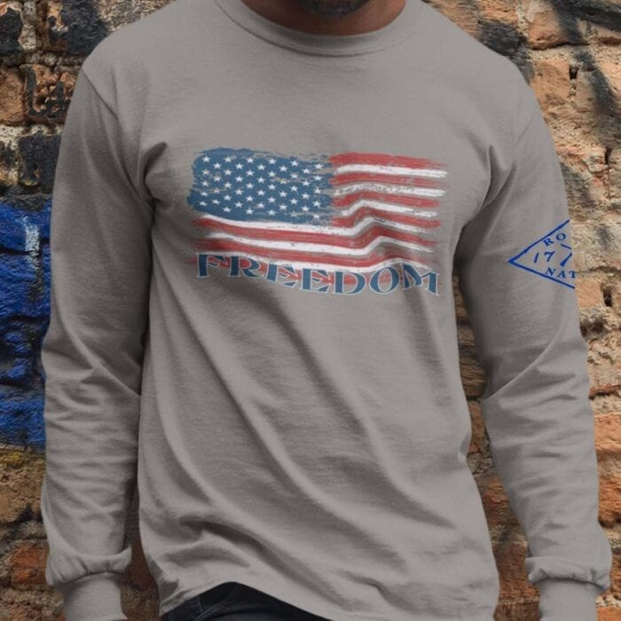 Freedom Flag on Light Heather Grey Long Sleeve T-Shirt