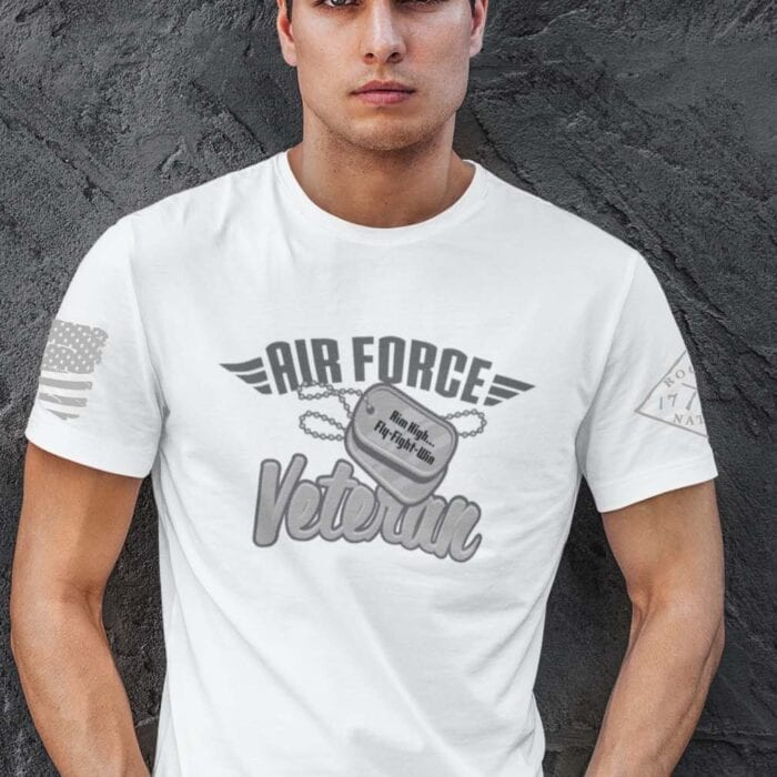Air Force Veteran T-Shirt on Men's White T Shirt