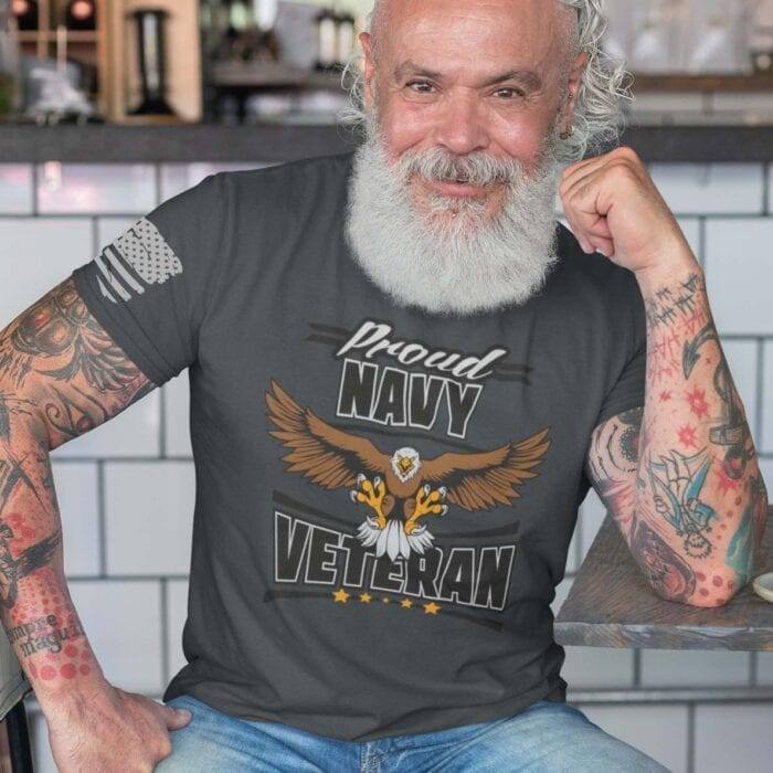 Navy Veteran On Men's Charcoal T-Shirt