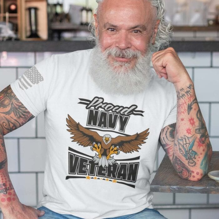 Navy Veteran on Men's White T-Shirt
