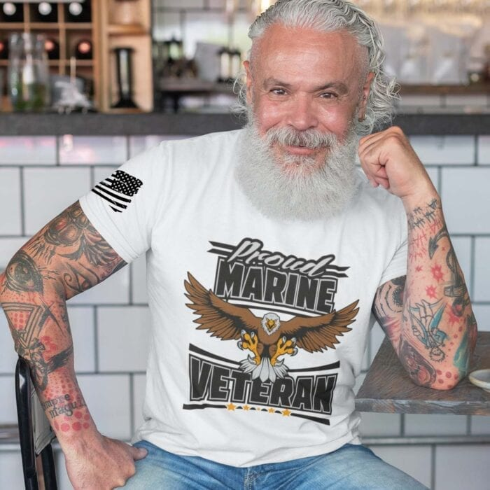 Marine Veteran on Men's White Tshirt