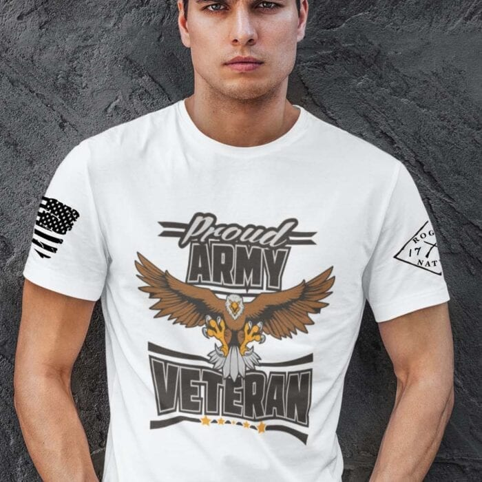 Army Veteran on Men's White Shirt