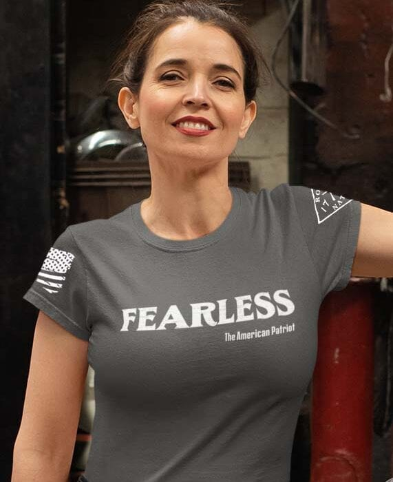 Fearless Patriot on a Women's Charcoal T-Shirt