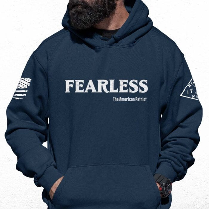 Fearless Patriot on Men's Navy Blue Hoodie