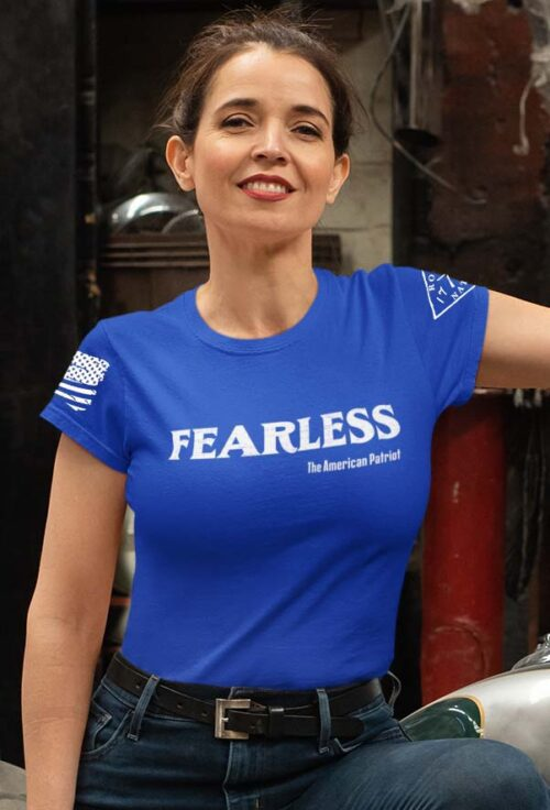 Fearless Patriot on a Women's Royal Blue T-Shirt
